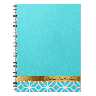 Personalized Arctic Blue White Geometric and Gold Notebook
