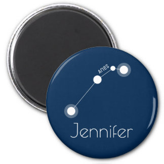 Personalized Aries Zodiac Constellation 2 Inch Round Magnet