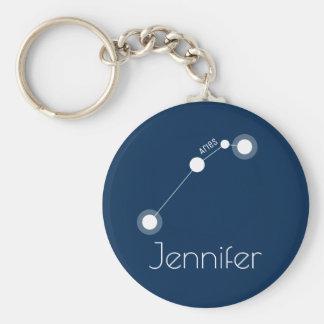 Personalized Aries Zodiac Constellation Basic Round Button Keychain