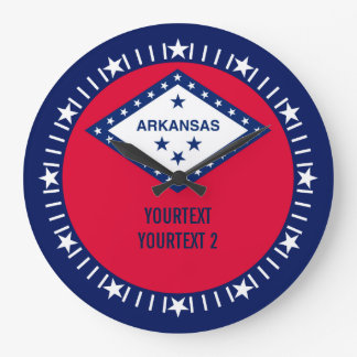Personalized Arkansas State Flag Design on a Large Clock