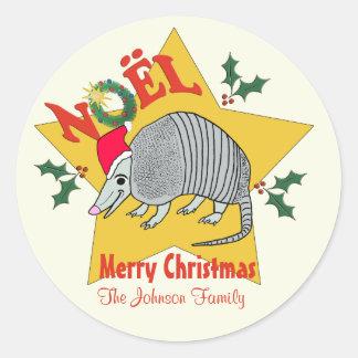 Personalized  Armadillo Santa Star Christmas Round Sticker