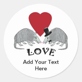 Personalized Armadillos in Love Round Sticker