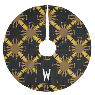 Personalized - Art Deco Golden Sunbursts Brushed Polyester Tree Skirt