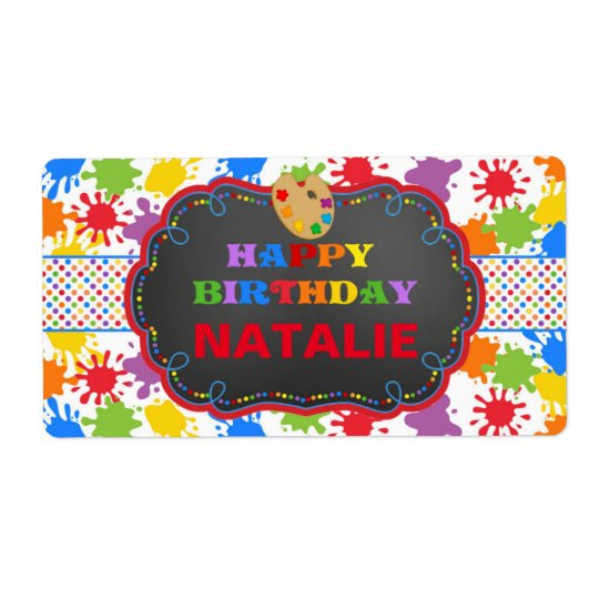 Personalized Art Paint Birthday Water Bottle Label