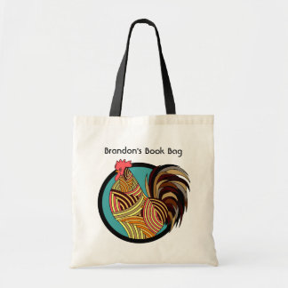 Personalized Artistic Rooster Tote Bag