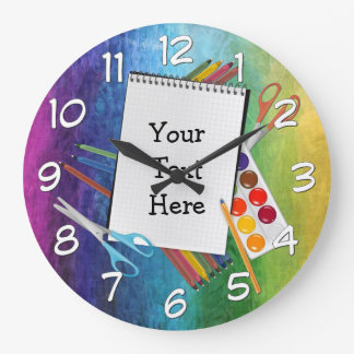 Personalized Artsy Craft Supplies Rainbow Clock