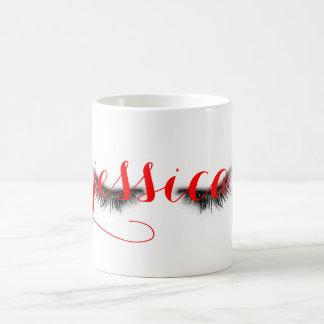 Personalized Artsy Feminine Chic Eyelashes Design Coffee Mug