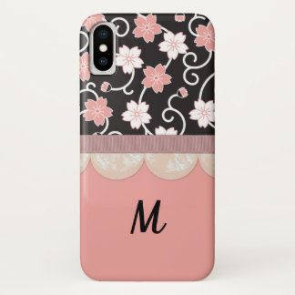 Personalized Asian Floral Lace Pink iPhone X Case