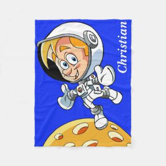 Personalized Astronaut Cartoon Fleece Blanket