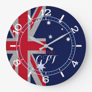 Personalized Australian Flag Design Carbon Chrome Large Clock