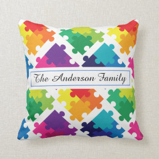 Personalized Autism Awareness Rainbow Puzzles Throw Pillow