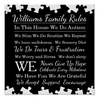 Personalized Autism Family Rules Poster