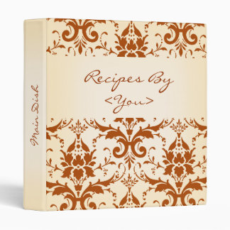 Personalized Autumn Rust Damask Recipe Cook Book Vinyl Binders