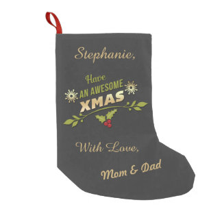 Personalized Awesome Xmas Holiday Chalkboard Small Christmas Stocking