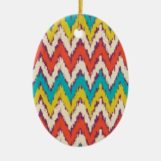 Personalized Aztec Tribal Ziz Zag Pattern Gifts Ceramic Oval Ornament