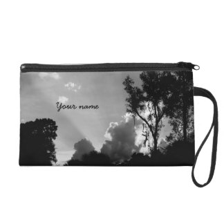 Personalized B&W Sun Rays at Sunset Wristlet