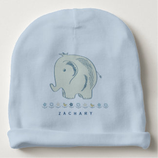 Personalized Baby Beanie Hat with Baby Elephant