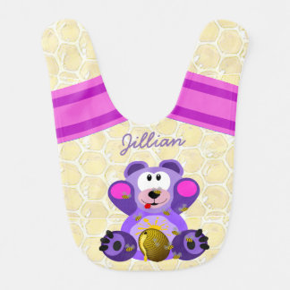 Personalized Baby Bees and Honeycomb Bib