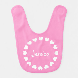 Personalized baby bib in pink with white hearts