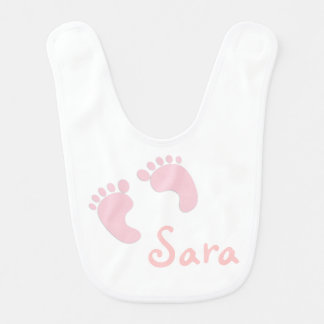 Personalized Baby Bib With Pink Feet