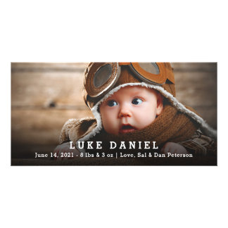 Personalized Baby Birth Announcement Photo Card