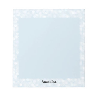 Personalized Baby Blue Bokeh Frame Notepad