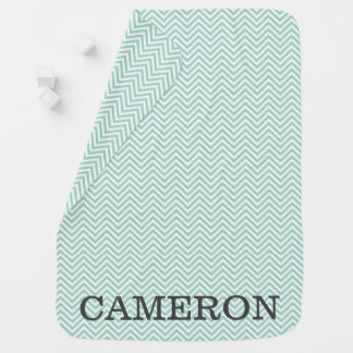 Personalized Baby Blue Chevron Baby Blanket