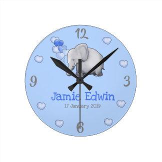 Personalized Baby Blue Cute Elephant Nursery Round Clock