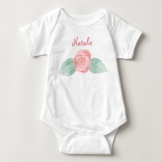 Personalized Baby Bodysuit with Pink Rose