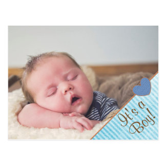 Personalized Baby Boy Birth Announcement Postcard