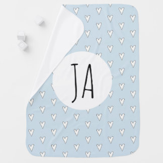 Personalized Baby Boy Blue Heart Pattern Monogram Baby Blanket