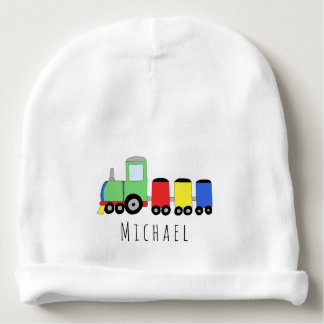 Personalized Baby Boy Colorful Train with Name Baby Beanie