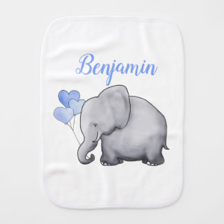 Personalized Baby Boy Cute Blue Balloons Elephants Burp Cloth