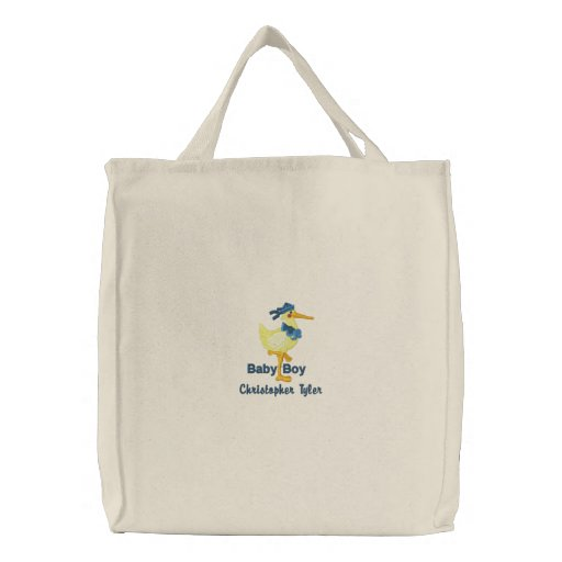 Personalized baby boy embroidered canvas tote bag