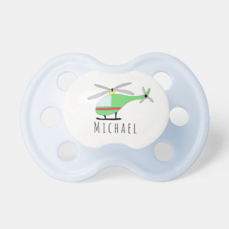 Personalized Baby Boy Helicopter Aircraft and Name Pacifier