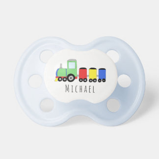 Personalized Baby Boy Locomotive Train with Name Pacifier