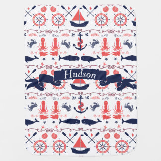 Personalized Baby Boy Navy Nautical Navy Anchor Baby Blanket