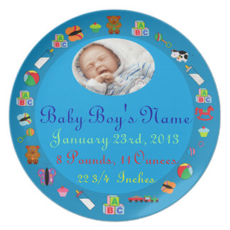 PERSONALIZED Baby Boy PHOTO Birth Keepsake Plate