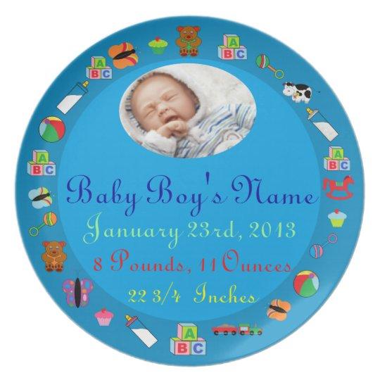 PERSONALIZED Baby Boy PHOTO Birth Keepsake Plate