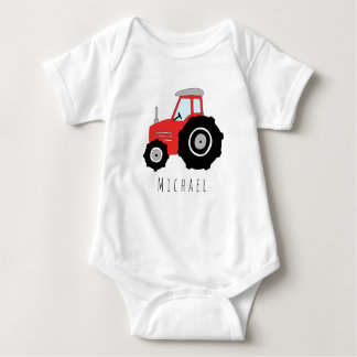 Personalized Baby Boy Red Farm Tractor with Name Baby Bodysuit