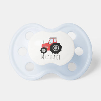 Personalized Baby Boy Red Farm Tractor with Name Pacifier
