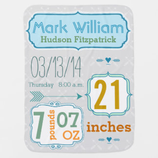Personalized Baby Boy Stats Arrow Pattern Gray Baby Blanket