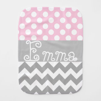 Personalized baby burp cloth in pink