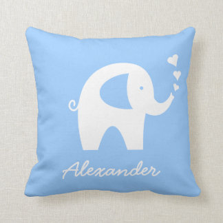 Personalized baby elephant throw pillow | Blue