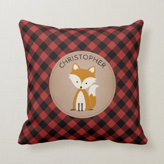 Personalized Baby Fox Plaid Pillow