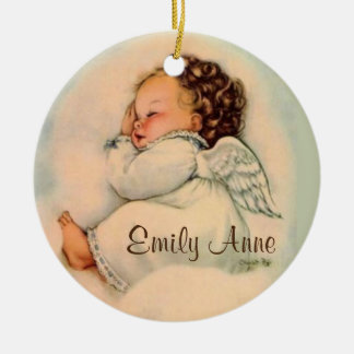 Personalized Baby Girl Angel Sleeping Ceramic Ornament