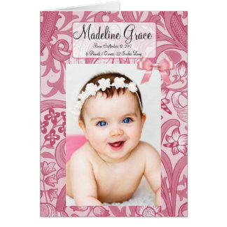 Personalized Baby Girl Birth Announcement Card