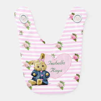 Personalized Baby Girl Floral Pink Bunny Bib