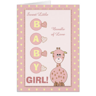 Personalized Baby Girl giraffe pink Card
