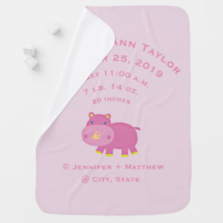 Personalized Baby Girl Hippo Birth Record Stats Baby Blankets